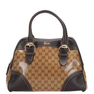 Gucci Brown/Beige GG Crystal Leather Shoulder Bag