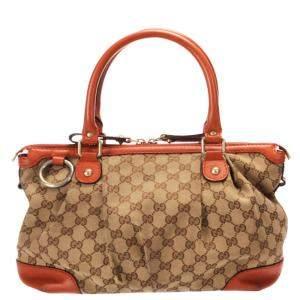 Gucci Orange GG Canvas Shoulder Bag