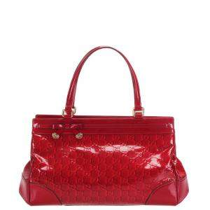 Gucci Red Guccissima Patent Leather Mayfair Bag