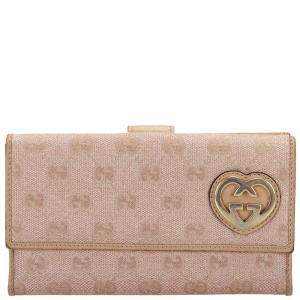 Gucci Beige GG Canvas Lovely Wallet