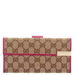 Gucci Brown/Pink GG Canvas Long Wallet