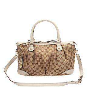 Gucci Brown/Tan GG Canvas Satchel Bag