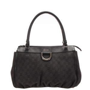 Gucci Black GG Canvas Abbey D-Ring Tote Bag
