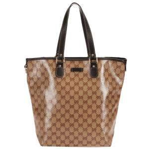 Gucci Brown Vinyl GG Crystal Tote Bag