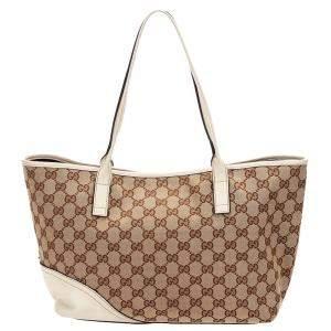 Gucci Brown/Beige GG Canvas Tote Bag