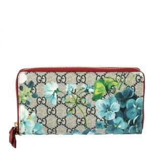 Gucci Multicolor GG Supreme Canvas Blooms Zip Around Wallet