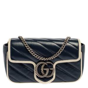 Gucci White/Blue Quilt Leather Mini GG Torchon Shoulder Bag