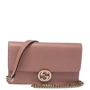 Gucci Pink Leather Interlocking G Wallet on Chain