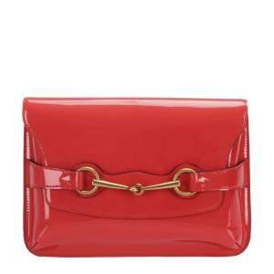 Gucci Red Patent Leather Horsebit Crossbody Bag
