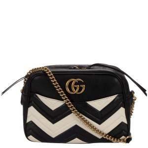 Gucci Black/Cream Matelasse Leather GG Marmont Medium Bag