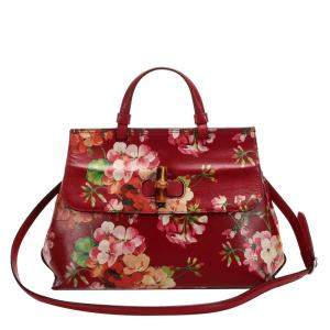 Gucci Red Leather Blooms Bamboo Daily Satchel Bag