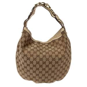 Gucci Beige/Cream GG Canvas and Leather Medium Wave Hobo