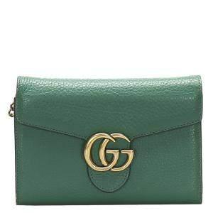 Gucci Green Interlocking G Chain Leather Crossbody Bag