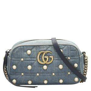 Gucci Blue Matelassé Denim GG Marmont Pearl Bag