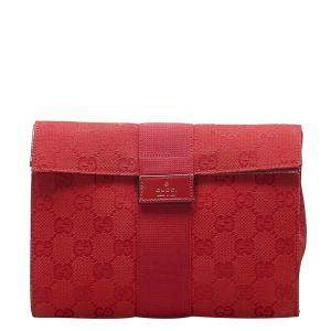 Gucci Red GG Canvas Clutch Bag
