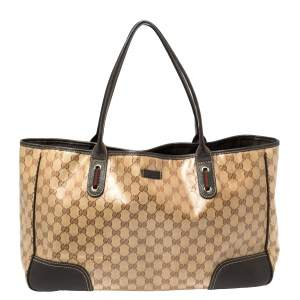 Gucci Brown/Beige GG Crystal Canvas and Leather Large Princy Tote