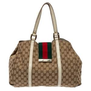 Gucci Beige/White GG Canvas And Leather New Lady Web Shoulder Bag