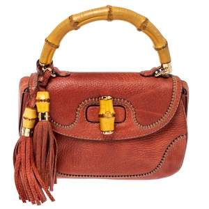 Gucci Dark Orange Grain Leather Medium New Bamboo Top Handle Bag