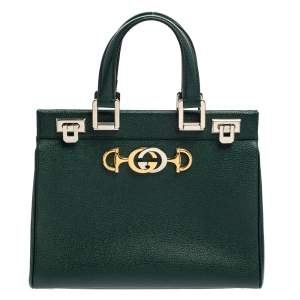 Gucci Green Grain Leather Small Zumi Tote