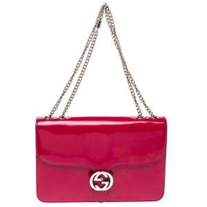 Gucci Fuchsia Patent Leather Medium Interlocking G Shoulder Bag