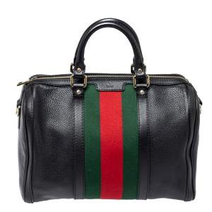 Gucci Black Leather Medium Vintage Web Joy Boston Bag