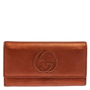 Gucci Metallic Copper Leather Soho Continental Wallet