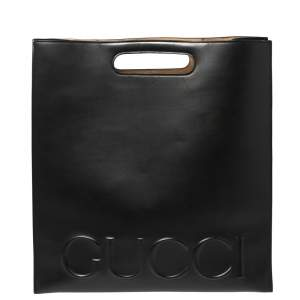 Gucci Black Logo Embossed Leather XL Tote