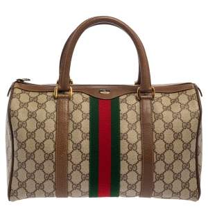 Gucci Beige/Brown GG Supreme and Leather Vintage Boston Bag