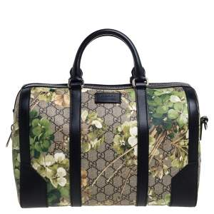 Gucci Green/Black GG Blooms Supreme Canvas and Leather Medium Boston Bag