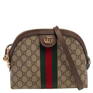 Gucci Beige/Brown GG Supreme Canvas and Leather Ophidia Crossbody Bag