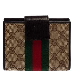 Gucci Beige GG Canvas and Leather Web Agenda Planner