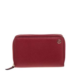 Gucci Red Pebbled Leather Zip Around Wallet