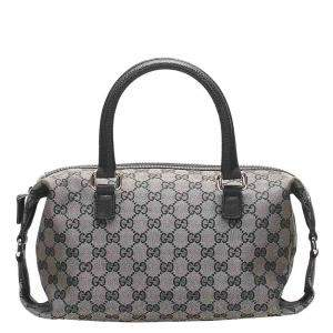 Gucci Grey/Black GG Canvas Top Handle Bag