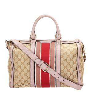 Gucci Brown GG Canvas Web Boston Bag