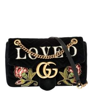 Gucci Black Velvet Small Embroidered GG Marmont Shoulder Bag