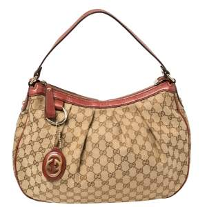 Gucci Beige/Red GG Canvas and Leather Medium Sukey Hobo