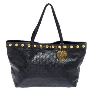 Gucci Black Guccissima Leather Medium Babouska Tote