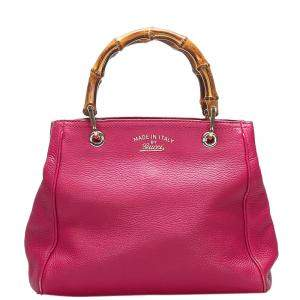 Gucci Pink Leather Bamboo Shopper Tote Bag