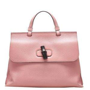 Gucci Pink Leather Bamboo Daily Bag