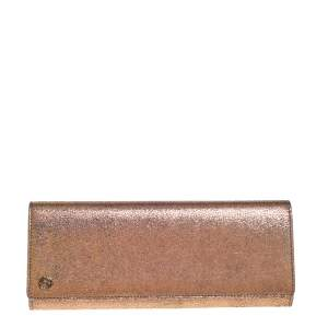Gucci Rose Gold Iridescent Cracked Leather Broadway Clutch