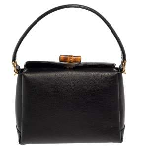 Gucci Black Leather Bamboo Turn Lock Top Handle Bag