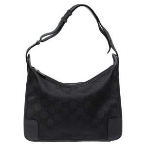 Gucci Black GG Nylon And Leather Hobo Bag