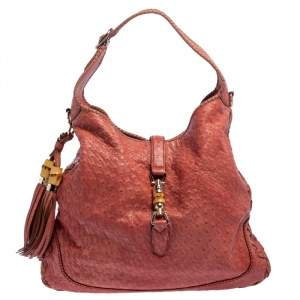 Gucci Coral Red Ostrich Large New Jackie Hobo