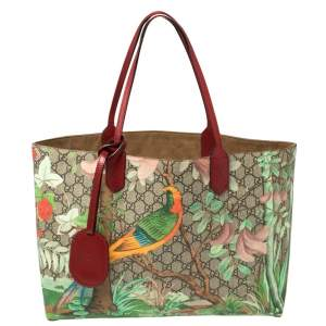 Gucci Multicolor GG Supreme Canvas and Leather Tian Garden Tote