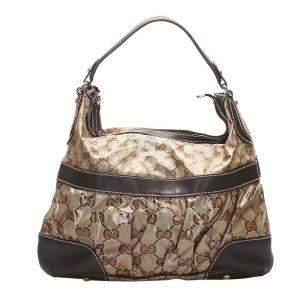 Gucci Beige/Brown GG Crystal Vinyl Leather Shoulder Bag