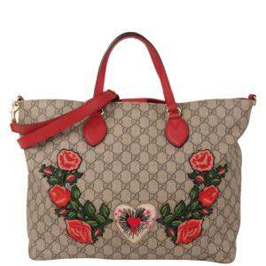 Gucci Beige/Red GG Supreme Canvas Courrier Soft Satchel Bag