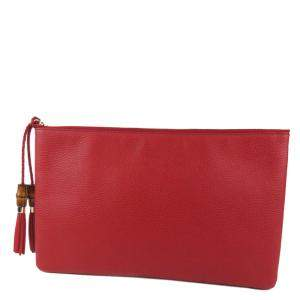 Gucci Red Bamboo Leather Clutch Bag