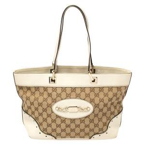 Gucci Beige/Cream GG Canvas and Leather Medium Punch Tote