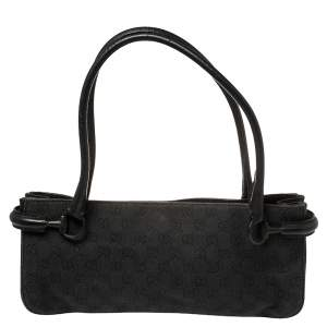 Gucci Black GG Canvas and Leather Baguette Bag