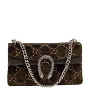 Gucci Olive Green GG Velvet and Leather Small Dionysus Shoulder Bag